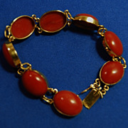18K and Natural Color Sardinian Coral Bracelet