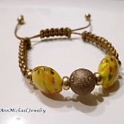 Bronze Leather Lampwork Bead Macrame Bracelet
