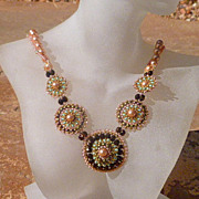 SOLD Bohemian Rose - woven crystal pearl necklace