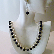 Handwoven Black and White Crystal Necklace and Earring Set