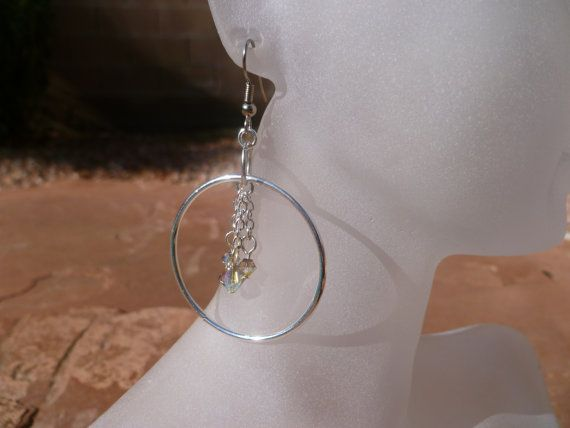 Dangling Crystal Sterling Silver Hoop Earrings