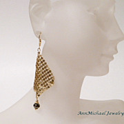 Gold Plated Mesh Earrings with Iris Crystal Accents