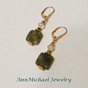 Genuine Labradorite Gemstone and Crystal Earrings
