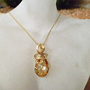 REDUCED Golden Shadow Teardrop Crystal Pendant
