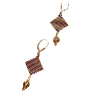 Handwoven Faceted Crystal Drop Earrings