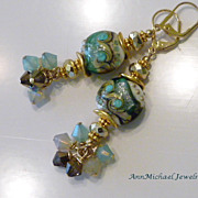 Green, Tan an Cream Lampwork Bead Earrings - Island Girl