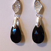 SALE Jet Black Crystal Teardrop Earrings - Nighttime Sparkle