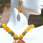 Labradorite and Yellow Jade Necklace Set - Honey