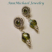 Olive Green Crystal Drop Earrings