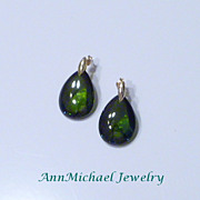 SALE Olive Zirconia Drop Earrings