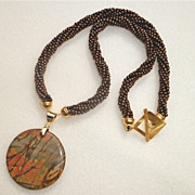SALE Handcrafted Picasso Jasper Pendant and Beaded Necklace