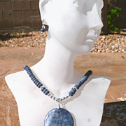 REDUCED Sponge Blue Coral and Sterling Silver Necklace Set - Casual Blue