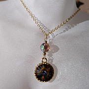 Swarovski Peacock Crystal and Smokey Topaz Pendant