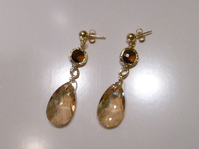 Smokey Quartz Glass and Crystal Earrings - Smokin' Hot