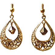 Golden Crystal Filigree Teardrop Earrings