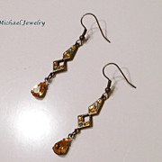 Vintage Style BronzeTopaz Crystal Earrings