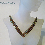 Woven Crystal Satin Necklace - Evening Sparkle