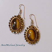 Woven Tigereye Cabochon Earrings