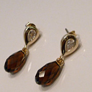 SALE Faceted Swarovski Chocolate Mocca Briolette Crystal Earrings