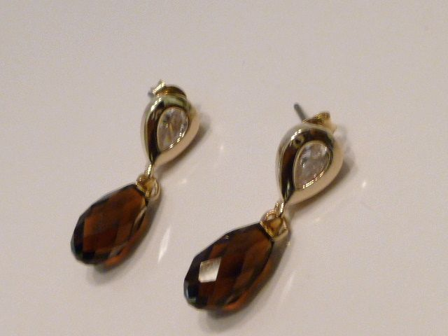 Faceted Swarovski Chocolate Mocca Briolette Crystal Earrings