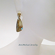 Golden Wings - Swarovski Bronze Crystal Earrings