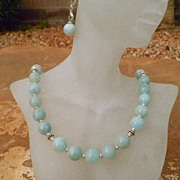 REDUCED Natural Aquamarine with Sterling Silver Accents Necklace Set