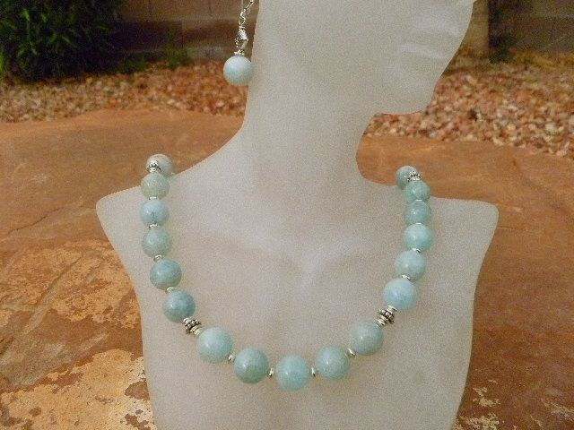 Natural Aquamarine with Sterling Silver Accents Necklace Set