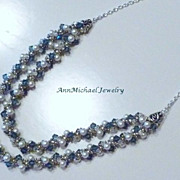 SOLD Denim Blue Crystal Double Strand Spiral Necklace