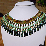 REDUCED Handwoven Mint Picasso Fringe Necklace