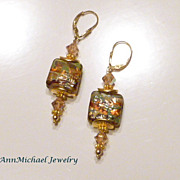 Green, Gold and Topaz  Lampwork Bead and Crystal Earrings