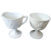 "Indiana Colony ""Harvest Grape"" milk glass open sugar & creamer"
