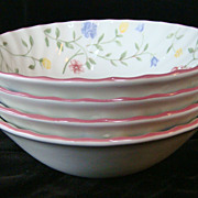 4 Johnson Brothers Summer Chintz china earthenware round soup or cereal bowls