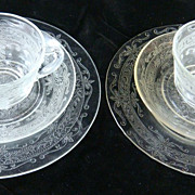 2 Luncheon Sets 'S' or 'Stippled Rose Band' Depression Glass
