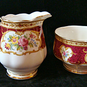 SALE PENDING Royal Albert 'Lady Hamilton' creamer & open sugar