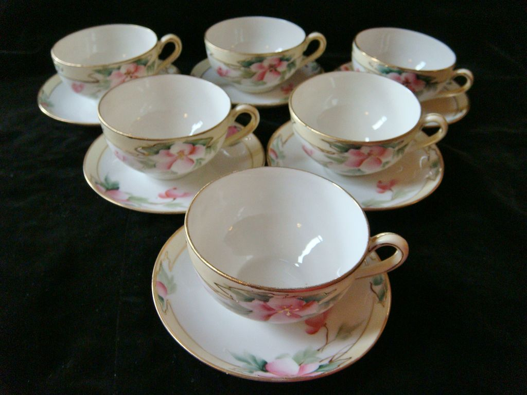 6 Nippon hand painted wild rose cup & saucer sets