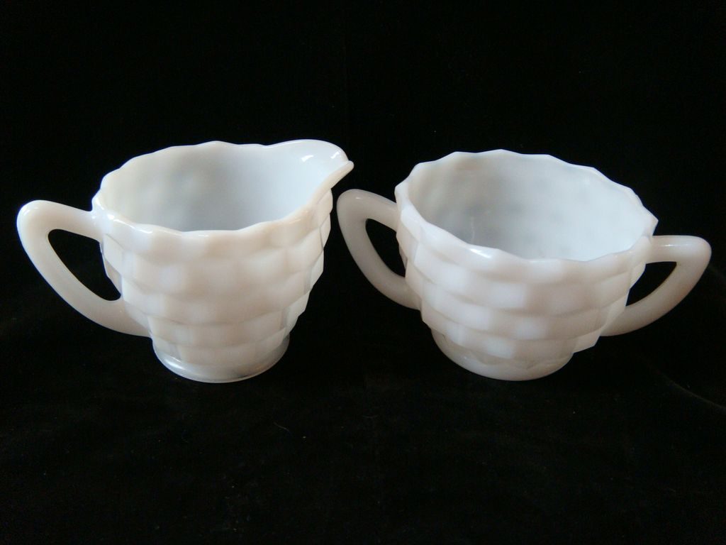 White translucent milk glass cubist creamer & sugar set