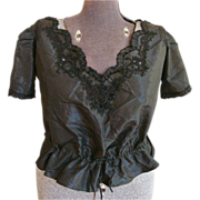 Victorian Black Taffeta Blouse with Black lace