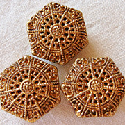 3 Ornately Carved & Shimmery Bronze Hexagonal Buttons, 7/8'