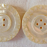 2 Huge Carved Mother of Pearl Buttons, 1 3/8&quot;