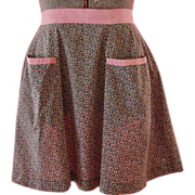 1940s-1950s Vintage Apron, Black, Teal & Pink Chintz