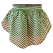 Vintage 1950s-1960s Green Gingham Apron with Smocking & Ric Rac