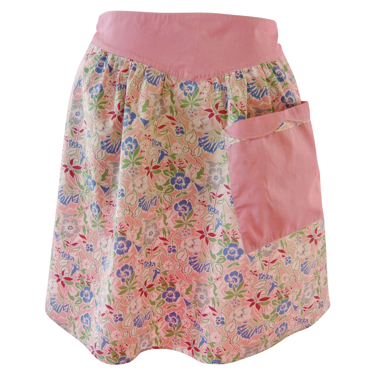 1940s-1950s Vintage Apron, Multi Colored Floral Chintz