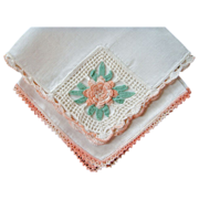 2 Handkerchiefs, Irish Linen with Crochet Details