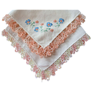 2 Handkerchiefs with Tatting & Embroidery