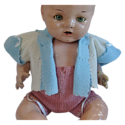 Baby Blue & Cream Wool Woven Doll Sweater or Jacket