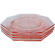 4 Pink Depression Glass Octagonal Lunch Salad or Desert Plates