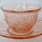 Rose Glow Pink Sharon or Cabbage Rose Depression Glass  Cup & Saucer