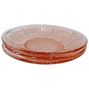 Rose Glow Pink Sharon or Cabbage Rose 3 Depression Glass Saucers