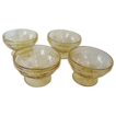 4 Amber Cabbage Rose Sherberts, Depression Glass