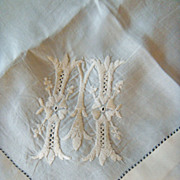 Cream Silk Handkerchief with &quot;M&quot; Monogram